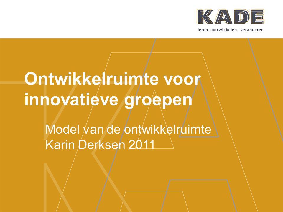Ontwikkelruimte voor innovatieve groepen Model van de ontwikkelruimte Karin Derksen 2011