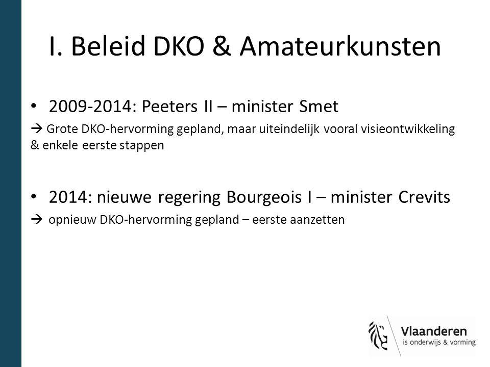 I. Beleid DKO & Amateurkunsten 2009-2014: Peeters II – minister Smet  Grote DKO-hervorming gepland, maar uiteindelijk vooral visieontwikkeling & enke