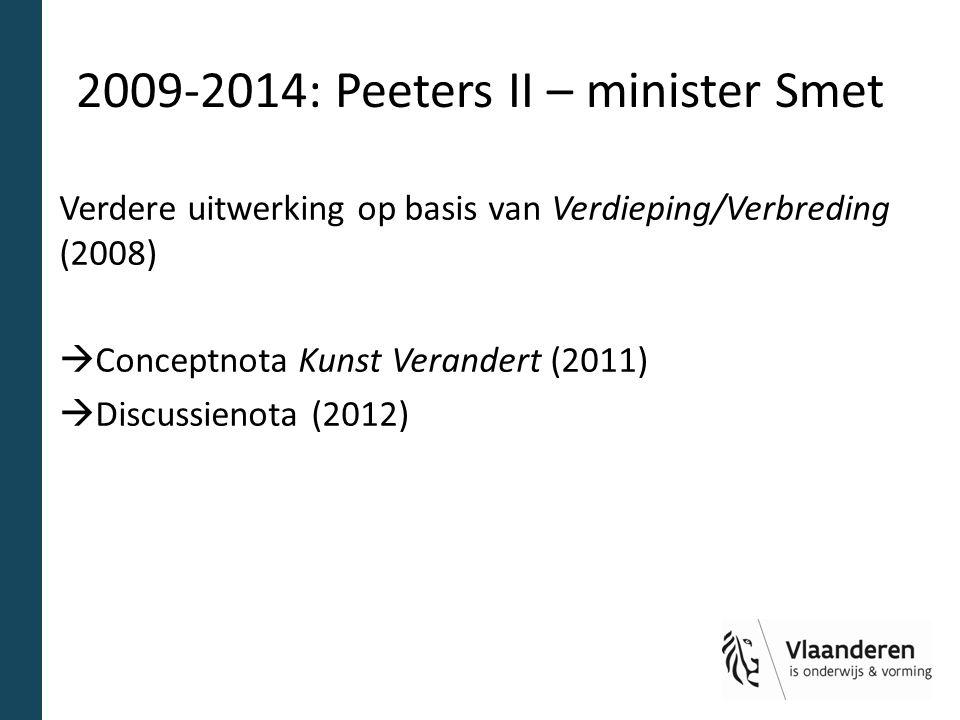 2009-2014: Peeters II – minister Smet Verdere uitwerking op basis van Verdieping/Verbreding (2008)  Conceptnota Kunst Verandert (2011)  Discussienota (2012)