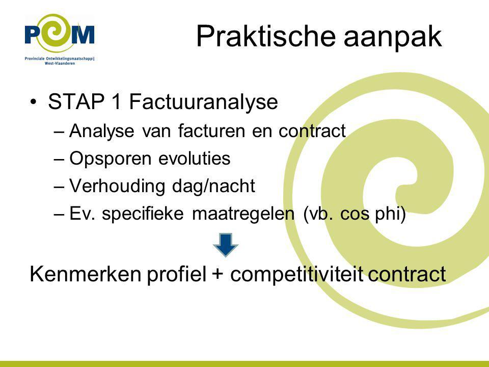 Praktische aanpak STAP 1 Factuuranalyse –Analyse van facturen en contract –Opsporen evoluties –Verhouding dag/nacht –Ev. specifieke maatregelen (vb. c