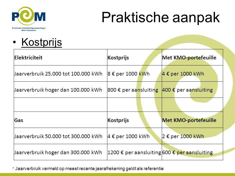Praktische aanpak Kostprijs * Jaarverbruik vermeld op meest recente jaarafrekening geldt als referentie ElektriciteitKostprijsMet KMO-portefeuille Jaarverbruik 25.000 tot 100.000 kWh8 € per 1000 kWh4 € per 1000 kWh Jaarverbruik hoger dan 100.000 kWh800 € per aansluiting400 € per aansluiting GasKostprijsMet KMO-portefeuille Jaarverbruik 50.000 tot 300.000 kWh4 € per 1000 kWh2 € per 1000 kWh Jaarverbruik hoger dan 300.000 kWh1200 € per aansluiting600 € per aansluiting