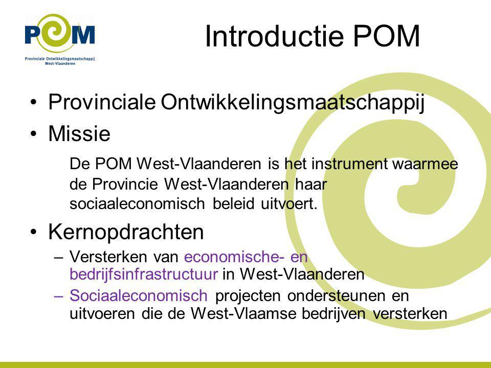 Introductie POM Bedrijvencentra & onthaalinfrastructuur Transport en logistiek Ruimte om te ondernemen Sociale Economie Duurzaam ondernemen Bedrijventerreinen Innovatie Internationalisering Integraal waterbeheer Energie