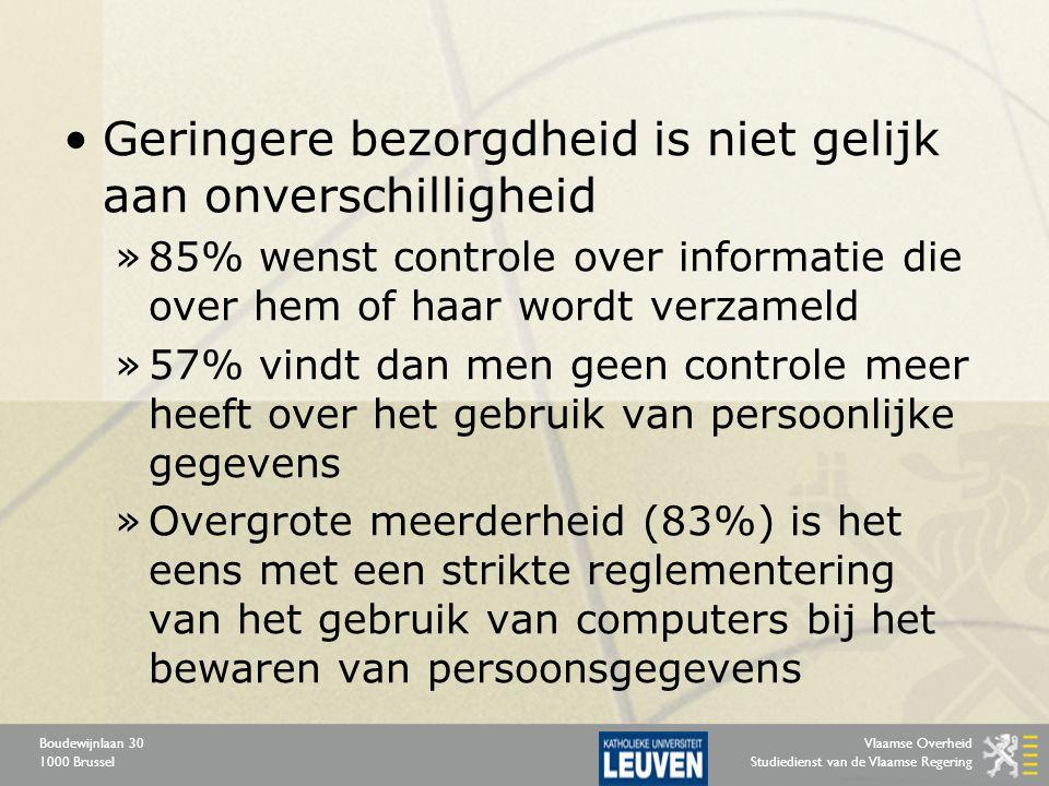 Vlaamse Overheid Studiedienst van de Vlaamse Regering Boudewijnlaan 30 1000 Brussel Geringere bezorgdheid is niet gelijk aan onverschilligheid »85% we