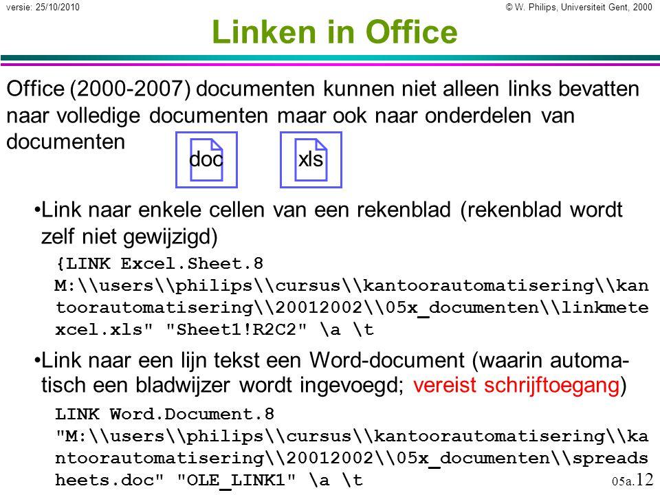 © W. Philips, Universiteit Gent, 2000versie: 25/10/2010 05a. 12 Office (2000-2007) documenten kunnen niet alleen links bevatten naar volledige documen