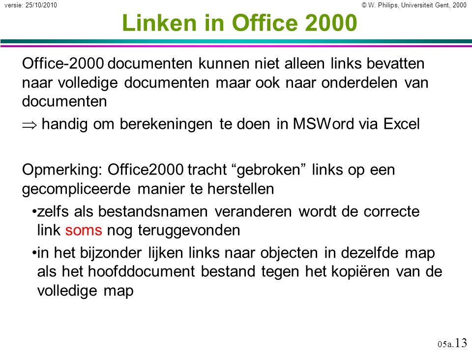 © W. Philips, Universiteit Gent, 2000versie: 25/10/2010 05a. 13 Office-2000 documenten kunnen niet alleen links bevatten naar volledige documenten maa