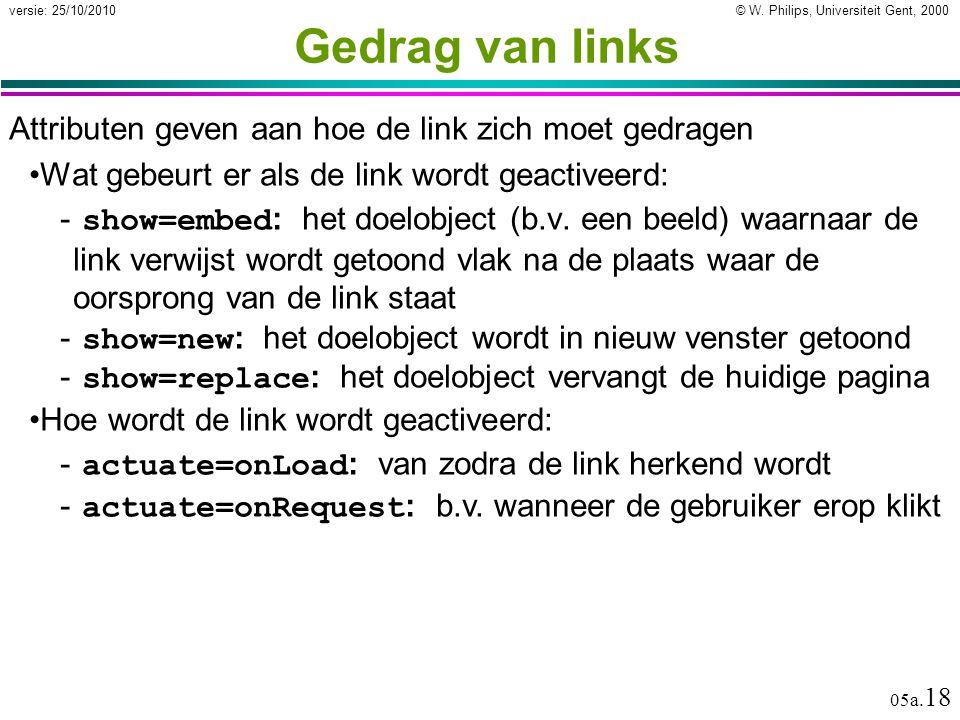 © W. Philips, Universiteit Gent, 2000versie: 25/10/2010 05a. 18 Gedrag van links Attributen geven aan hoe de link zich moet gedragen Wat gebeurt er al