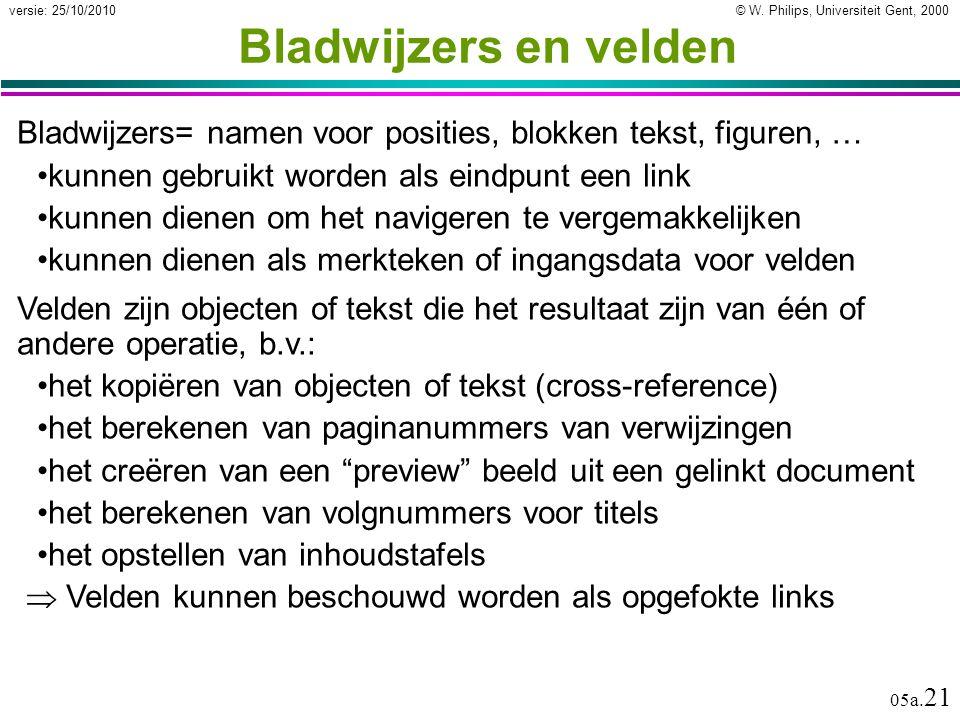 © W. Philips, Universiteit Gent, 2000versie: 25/10/2010 05a. 21 Bladwijzers= namen voor posities, blokken tekst, figuren, … kunnen gebruikt worden als