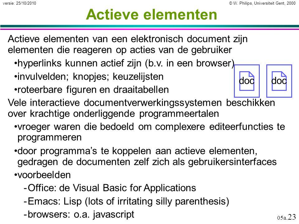 © W. Philips, Universiteit Gent, 2000versie: 25/10/2010 05a. 23 Actieve elementen Actieve elementen van een elektronisch document zijn elementen die r