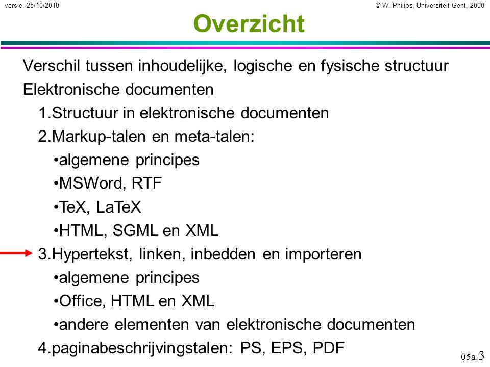 © W. Philips, Universiteit Gent, 2000versie: 25/10/2010 05a. 3 Overzicht Verschil tussen inhoudelijke, logische en fysische structuur Elektronische do