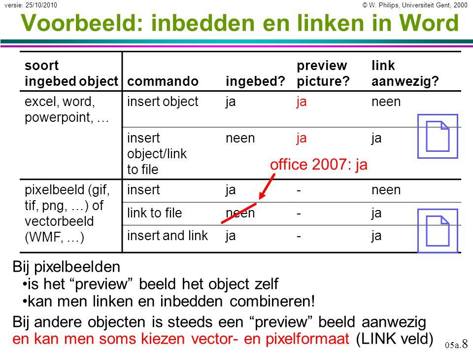"""© W. Philips, Universiteit Gent, 2000versie: 25/10/2010 05a. 8 Voorbeeld: inbedden en linken in Word Bij pixelbeelden is het """"preview"""" beeld het objec"""