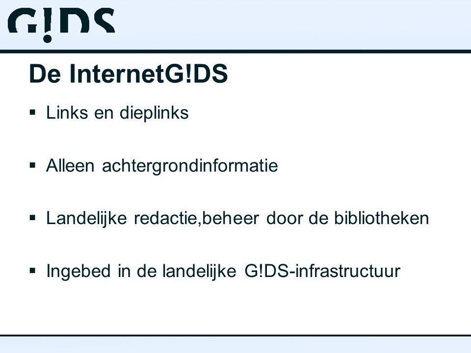 De InternetG!DS  Eenvoudige invoer  Geavanceerde mogelijkheden voor ontsluiting en presentatie  Filtering door trefwoorden en doelgroepen