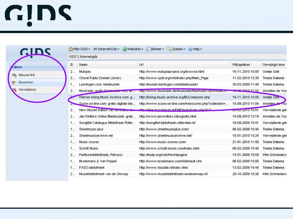 Toepassing InternetG!DS  Kern:  Eenmaal invoeren  Enkelvoudig beheren  Oneindig toepassen  Belangrijkste toepassingen:  Aanvullende informatie op websites per onderwerp  Digitale bibliotheek
