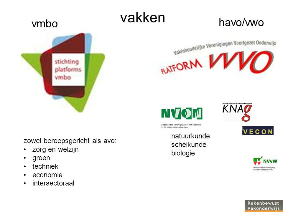 natuurkunde scheikunde biologie vakken vmbo havo/vwo zowel beroepsgericht als avo: zorg en welzijn groen techniek economie intersectoraal