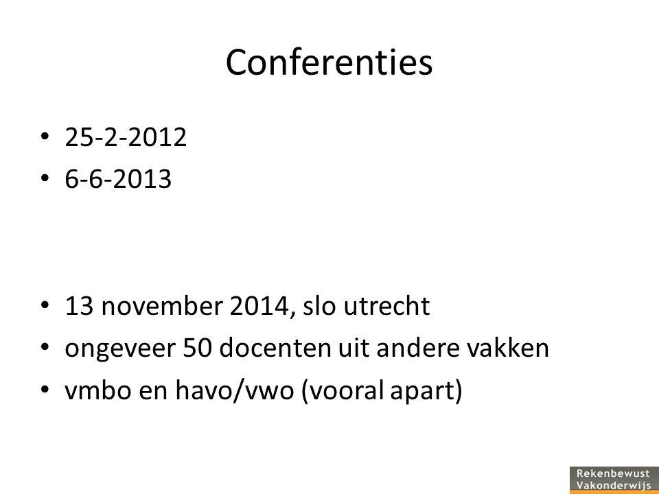 Conferenties 25-2-2012 6-6-2013 13 november 2014, slo utrecht ongeveer 50 docenten uit andere vakken vmbo en havo/vwo (vooral apart)