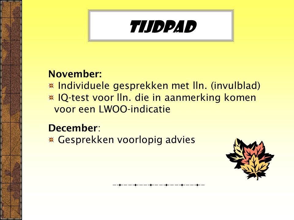 Tijdpad November: Individuele gesprekken met lln. (invulblad) IQ-test voor lln.