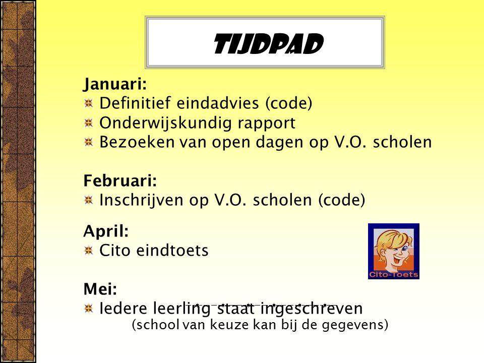 Tijdpad Januari: Definitief eindadvies (code) Onderwijskundig rapport Bezoeken van open dagen op V.O.