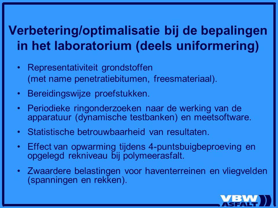 Verbetering/optimalisatie bij de bepalingen in het laboratorium (deels uniformering) Representativiteit grondstoffen (met name penetratiebitumen, freesmateriaal).