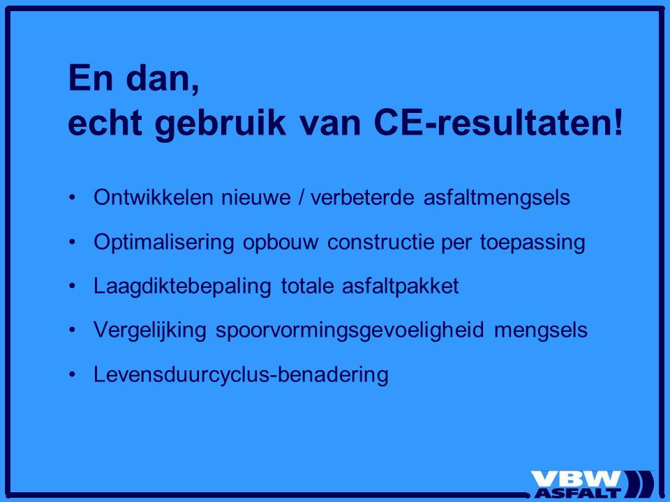 En dan, echt gebruik van CE-resultaten.