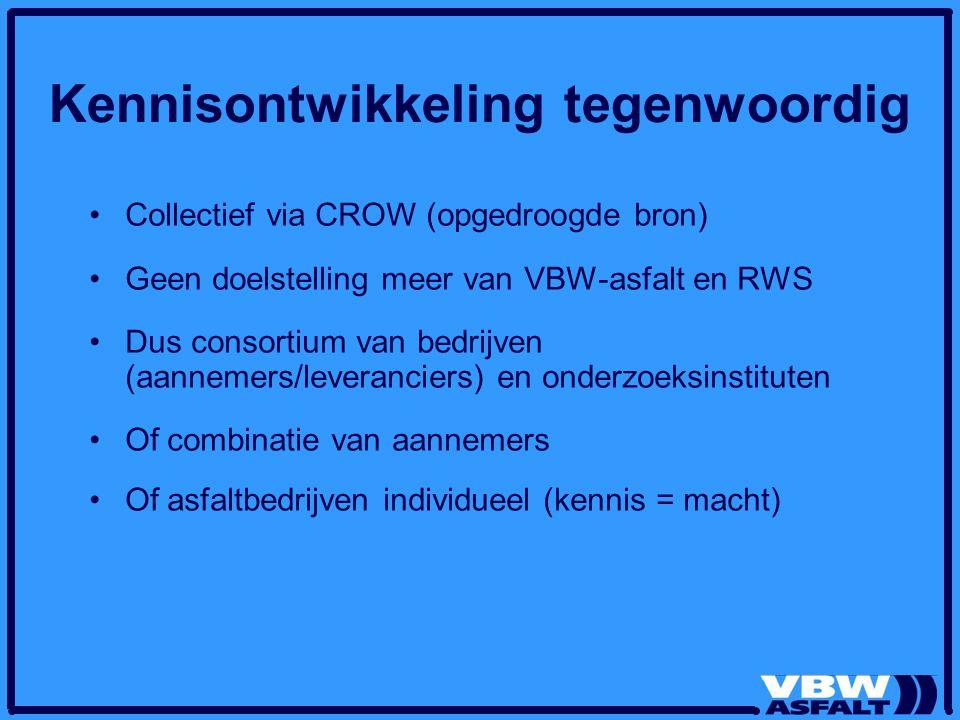 Kennisontwikkeling tegenwoordig Collectief via CROW (opgedroogde bron) Geen doelstelling meer van VBW-asfalt en RWS Dus consortium van bedrijven (aannemers/leveranciers) en onderzoeksinstituten Of combinatie van aannemers Of asfaltbedrijven individueel (kennis = macht)