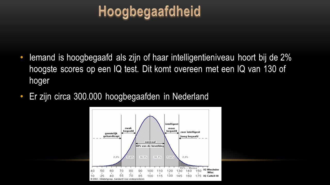 Meer begaafdheid wordt bepaald door een IQ dat tussen de 115 en 130 ligt en hoogbegaafdheid bij een IQ vanaf 130.