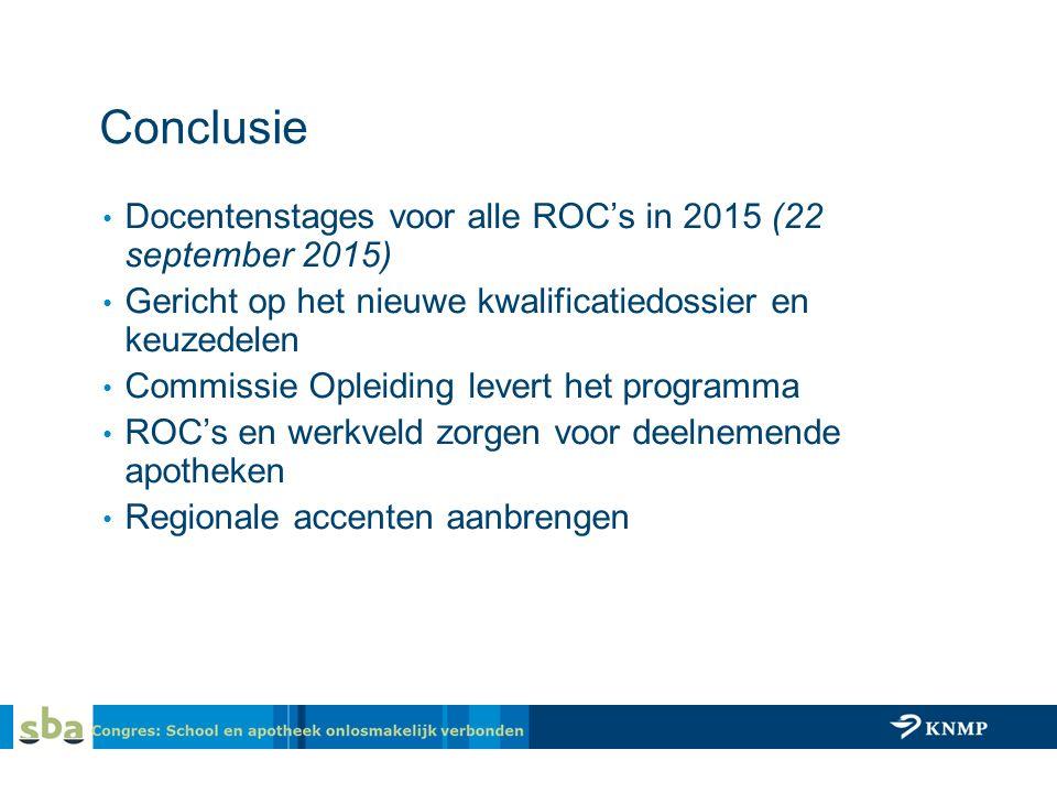 Conclusie Docentenstages voor alle ROC's in 2015 (22 september 2015) Gericht op het nieuwe kwalificatiedossier en keuzedelen Commissie Opleiding levert het programma ROC's en werkveld zorgen voor deelnemende apotheken Regionale accenten aanbrengen