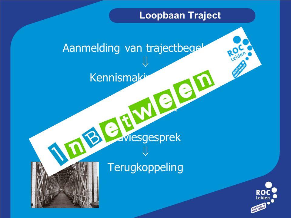 Loopbaan Traject Aanmelding van trajectbegeleider  Kennismakingsgesprek  Testafspraak  Adviesgesprek  Terugkoppeling