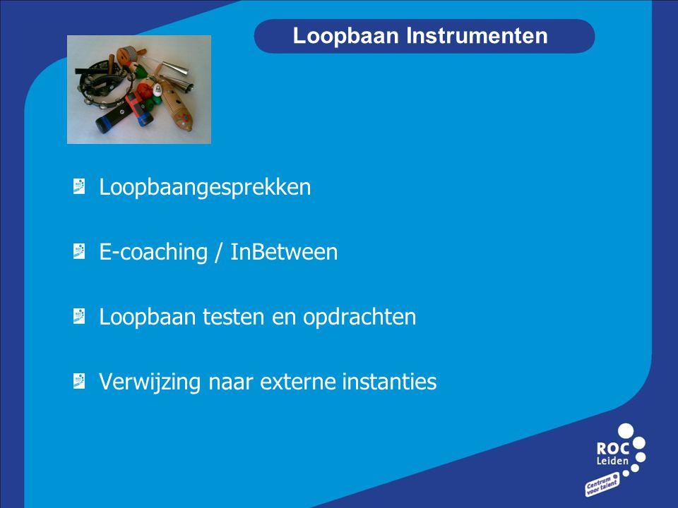 Loopbaan Instrumenten Loopbaangesprekken E-coaching / InBetween Loopbaan testen en opdrachten Verwijzing naar externe instanties