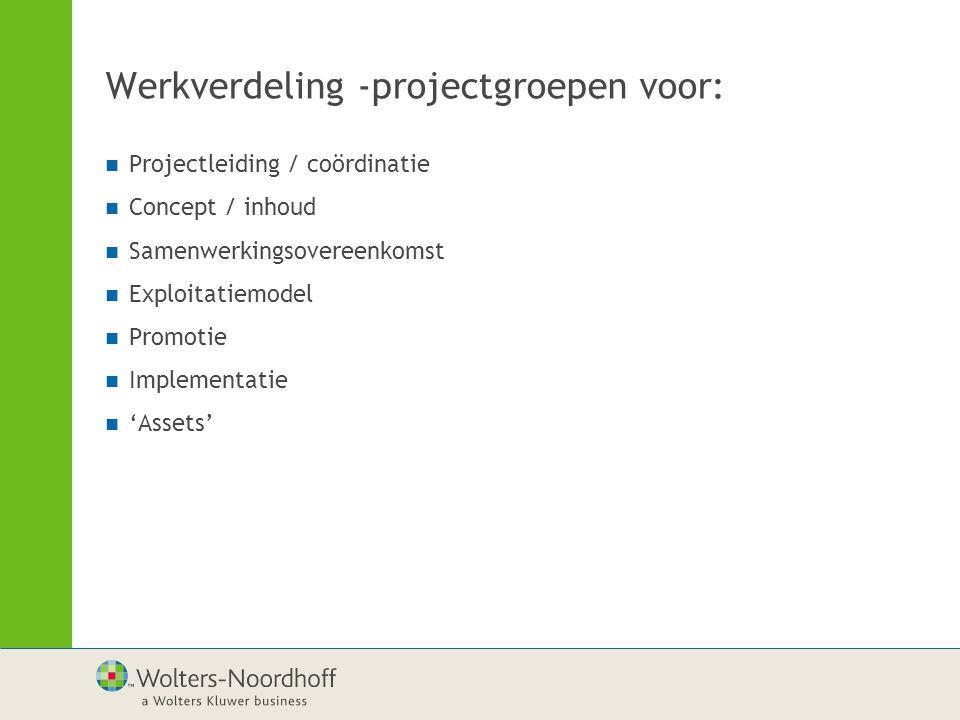 Werkverdeling -projectgroepen voor: Projectleiding / coördinatie Concept / inhoud Samenwerkingsovereenkomst Exploitatiemodel Promotie Implementatie 'Assets'