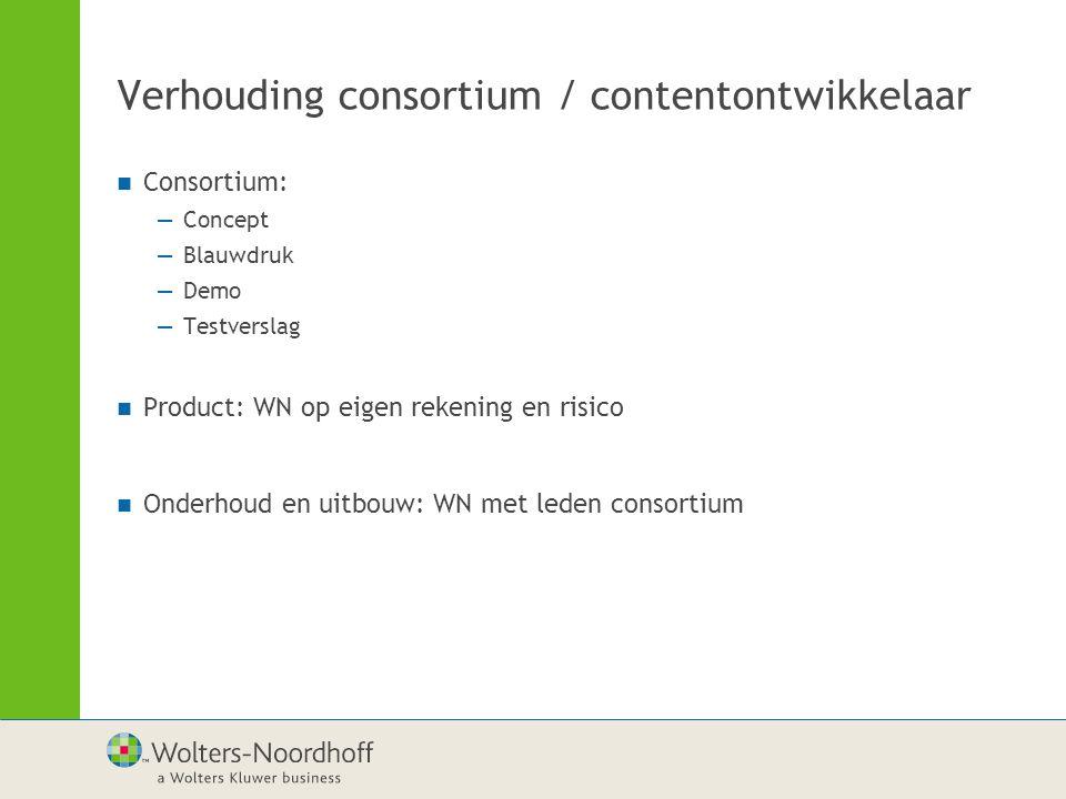 Verhouding consortium / contentontwikkelaar Consortium: —Concept —Blauwdruk —Demo —Testverslag Product: WN op eigen rekening en risico Onderhoud en uitbouw: WN met leden consortium