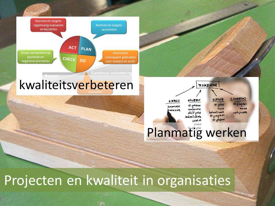 Projecten en kwaliteit in organisaties Planmatig werken kwaliteitsverbeteren