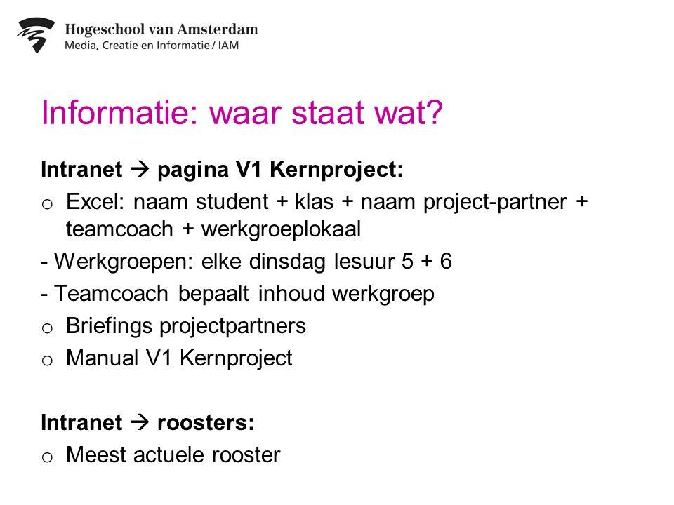 Informatie: waar staat wat? Intranet  pagina V1 Kernproject: o Excel: naam student + klas + naam project-partner + teamcoach + werkgroeplokaal - Werk
