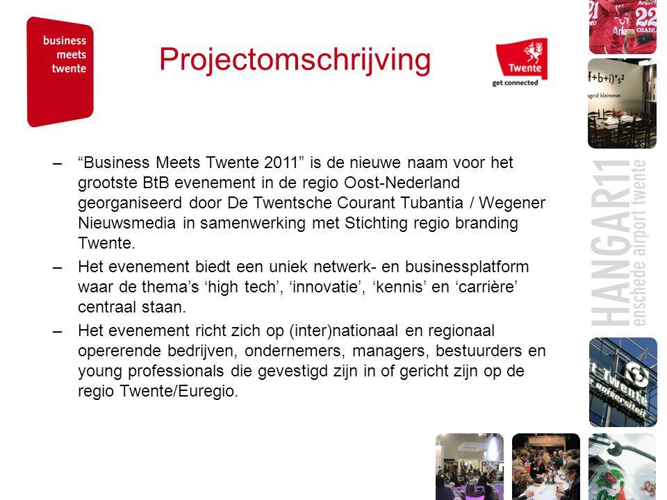 Projectomschrijving – Business Meets Twente 2011 is de nieuwe naam voor het grootste BtB evenement in de regio Oost-Nederland georganiseerd door De Twentsche Courant Tubantia / Wegener Nieuwsmedia in samenwerking met Stichting regio branding Twente.