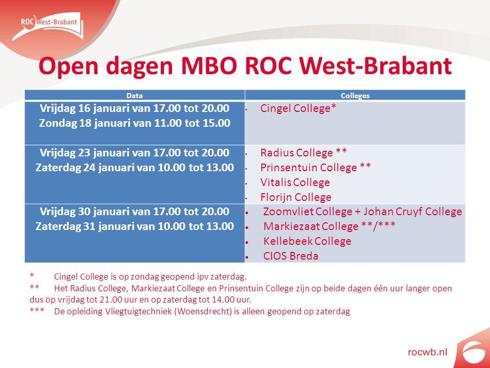 Open dagen MBO ROC West-Brabant DataColleges Vrijdag 16 januari van 17.00 tot 20.00 Zondag 18 januari van 11.00 tot 15.00 Cingel College* Vrijdag 23 januari van 17.00 tot 20.00 Zaterdag 24 januari van 10.00 tot 13.00 Radius College ** Prinsentuin College ** Vitalis College Florijn College Vrijdag 30 januari van 17.00 tot 20.00 Zaterdag 31 januari van 10.00 tot 13.00  Zoomvliet College + Johan Cruyf College  Markiezaat College **/***  Kellebeek College  CIOS Breda * Cingel College is op zondag geopend ipv zaterdag.