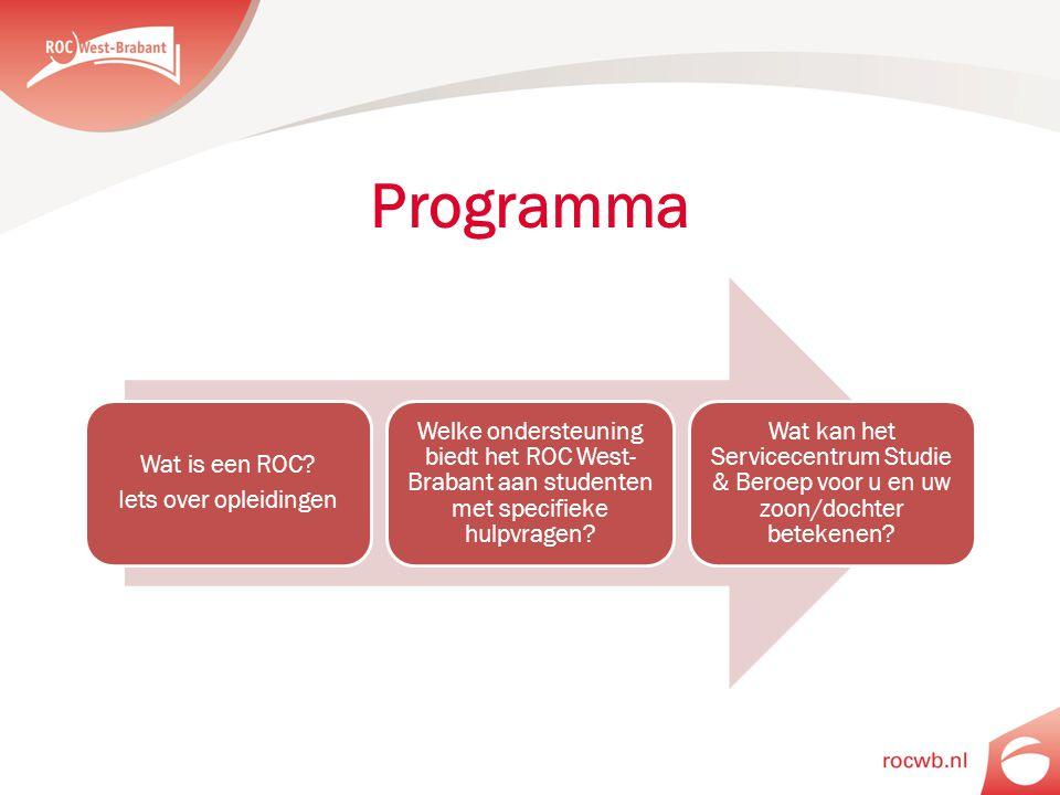 Programma Wat is een ROC? Iets over opleidingen Welke ondersteuning biedt het ROC West- Brabant aan studenten met specifieke hulpvragen? Wat kan het S