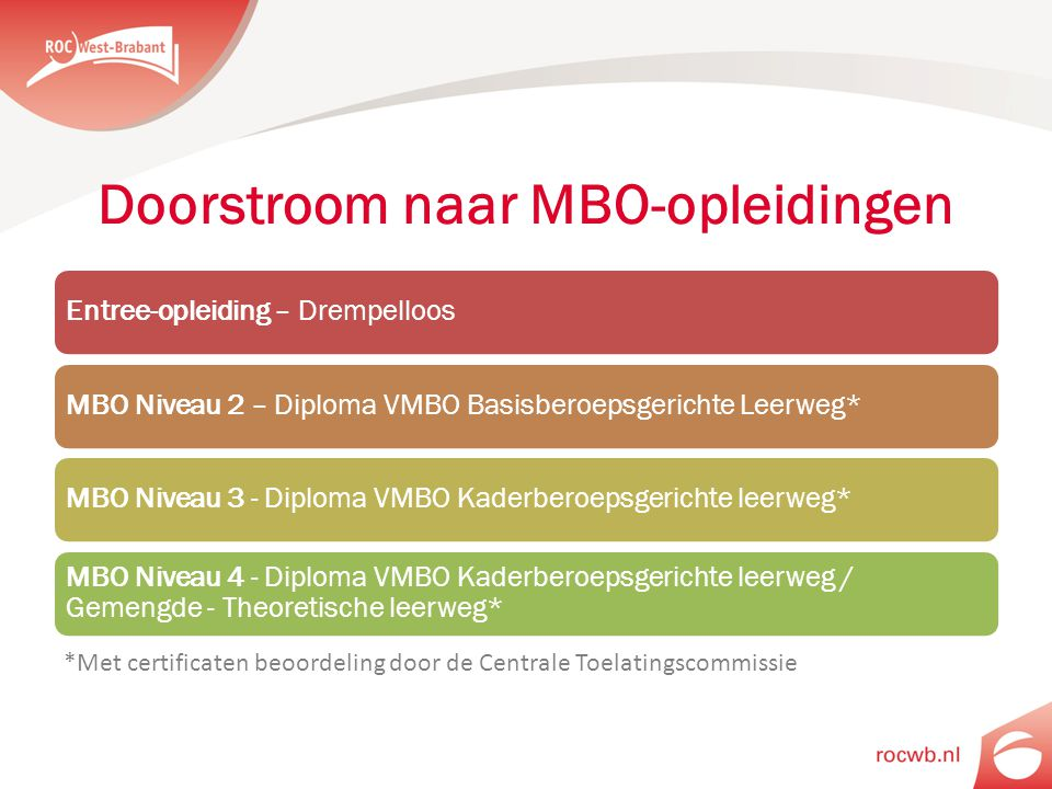 Doorstroom naar MBO-opleidingen Entree-opleiding – DrempelloosMBO Niveau 2 – Diploma VMBO Basisberoepsgerichte Leerweg*MBO Niveau 3 - Diploma VMBO Kad