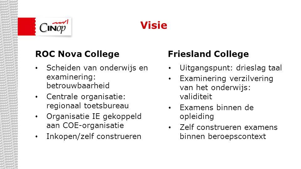 Visie Scheiden van onderwijs en examinering: betrouwbaarheid Centrale organisatie: regionaal toetsbureau Organisatie IE gekoppeld aan COE-organisatie