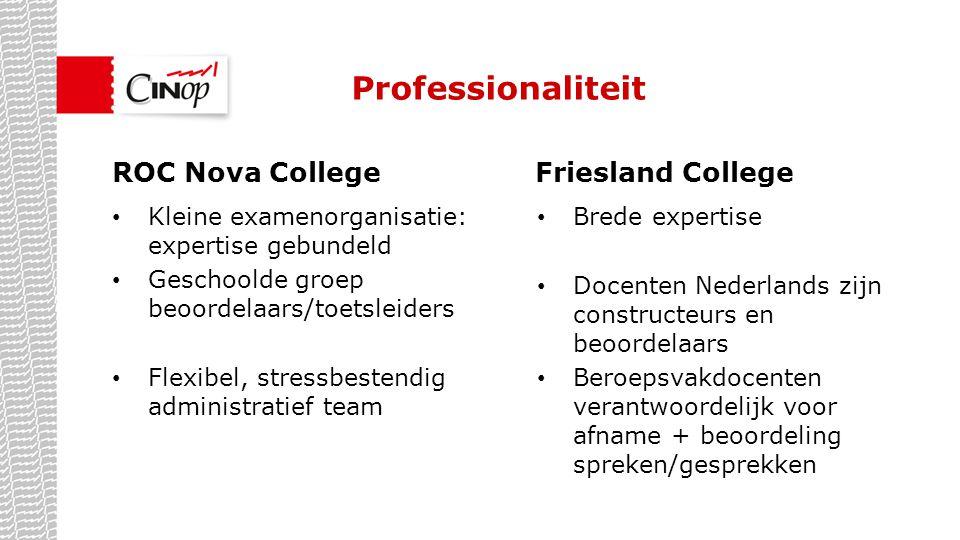Draagvlak Vraag vanuit de docenten (werkdrukvermindering) Hele organisatie staat achter deze aanpak ROC Nova CollegeFriesland College Examinering Nederlands verantwoordelijkheid van de hele opleiding Docenten Nederlands zijn thuis in de opleiding
