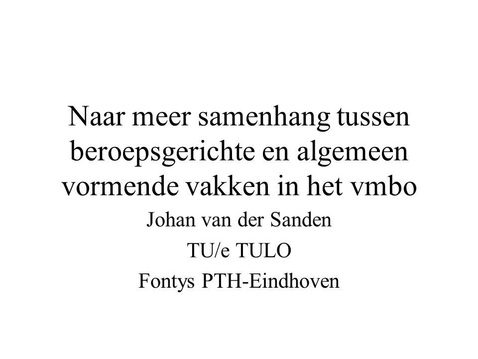 Naar meer samenhang tussen beroepsgerichte en algemeen vormende vakken in het vmbo Johan van der Sanden TU/e TULO Fontys PTH-Eindhoven