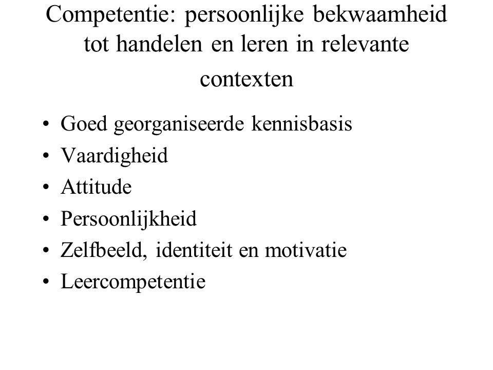 Competentie: persoonlijke bekwaamheid tot handelen en leren in relevante contexten Goed georganiseerde kennisbasis Vaardigheid Attitude Persoonlijkhei