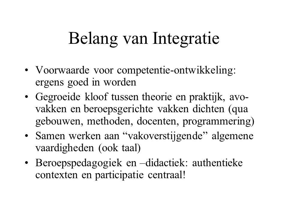 Belang van Integratie Voorwaarde voor competentie-ontwikkeling: ergens goed in worden Gegroeide kloof tussen theorie en praktijk, avo- vakken en beroe