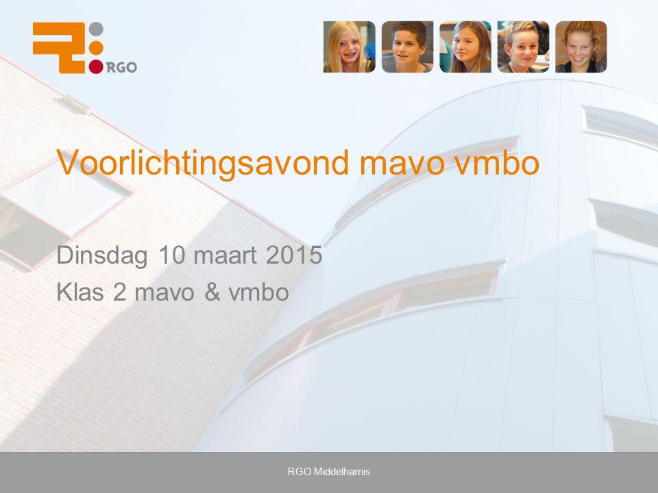 RGO Middelharnis Voorlichtingsavond mavo vmbo Dinsdag 10 maart 2015 Klas 2 mavo & vmbo