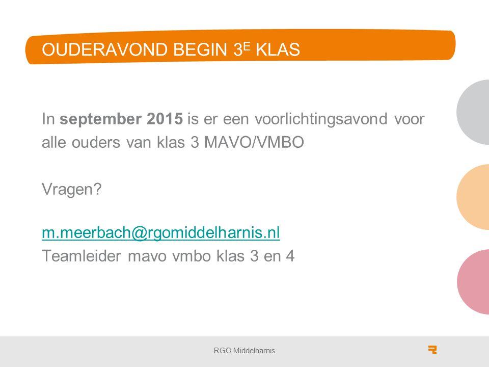 OUDERAVOND BEGIN 3 E KLAS In september 2015 is er een voorlichtingsavond voor alle ouders van klas 3 MAVO/VMBO Vragen? m.meerbach@rgomiddelharnis.nl T