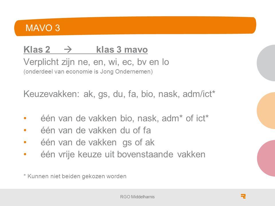 MAVO 3 Klas 2  klas 3 mavo Verplicht zijn ne, en, wi, ec, bv en lo (onderdeel van economie is Jong Ondernemen) Keuzevakken: ak, gs, du, fa, bio, nask