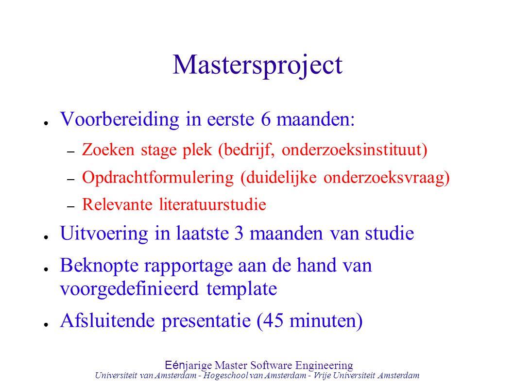 Eén jarige Master Software Engineering Hogeschool van Amsterdam Universiteit van Amsterdam - Hogeschool van Amsterdam - Vrije Universiteit Amsterdam M
