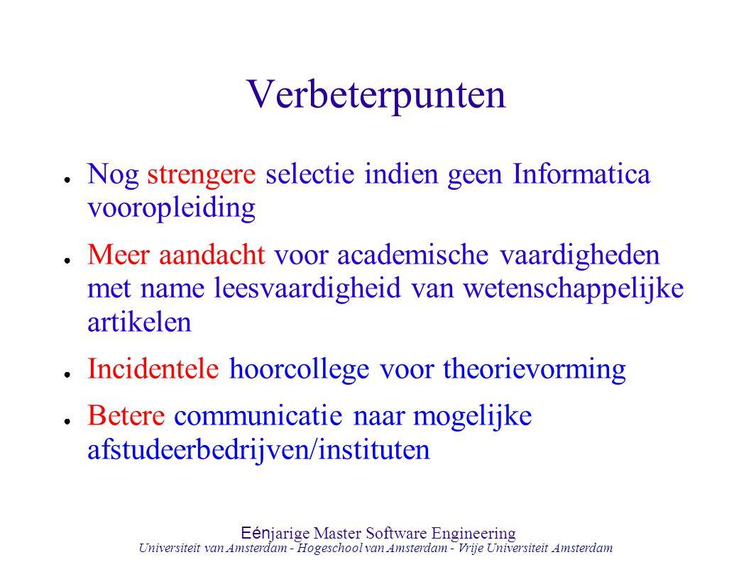 Eén jarige Master Software Engineering Hogeschool van Amsterdam Universiteit van Amsterdam - Hogeschool van Amsterdam - Vrije Universiteit Amsterdam V
