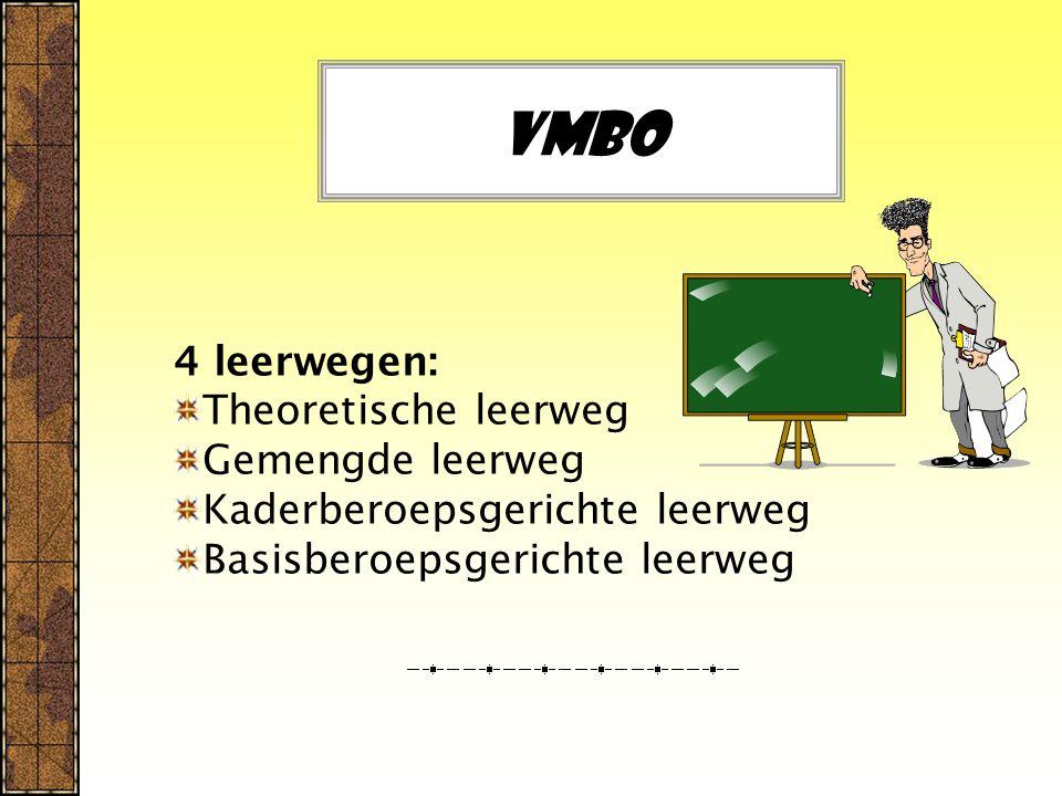 Vmbo 4 leerwegen: Theoretische leerweg Gemengde leerweg Kaderberoepsgerichte leerweg Basisberoepsgerichte leerweg