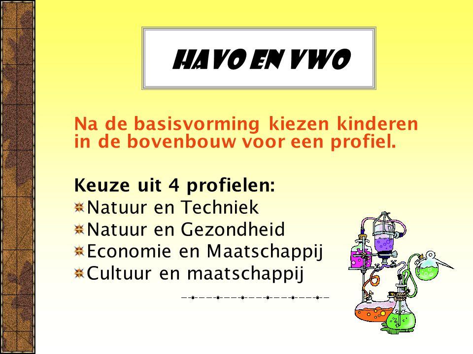 Havo en vwo Na de basisvorming kiezen kinderen in de bovenbouw voor een profiel. Keuze uit 4 profielen: Natuur en Techniek Natuur en Gezondheid Econom