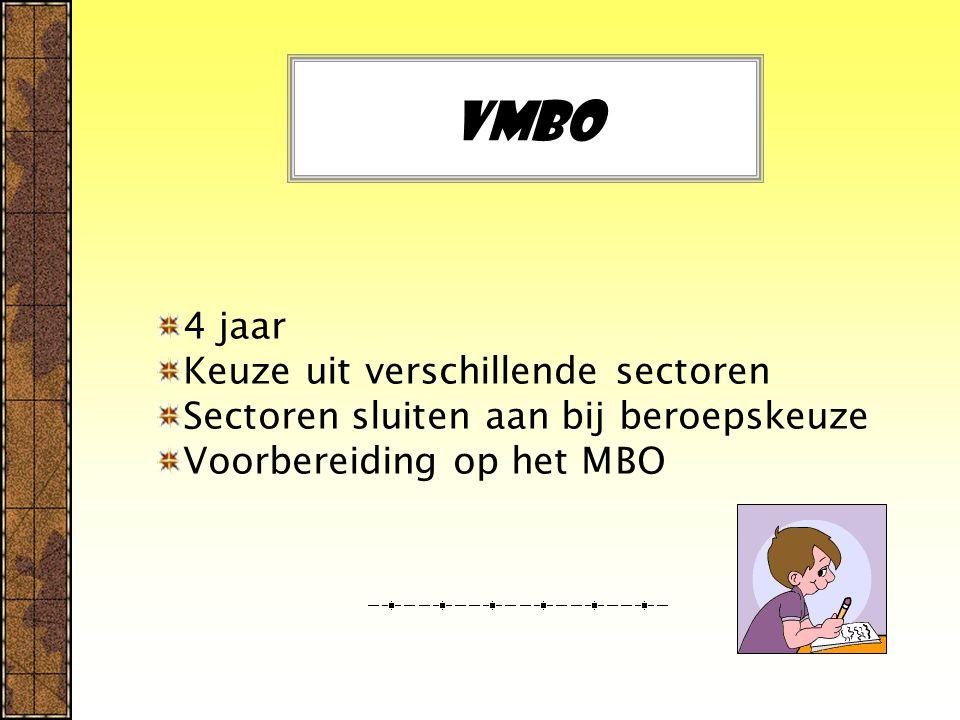 Vmbo 4 jaar Keuze uit verschillende sectoren Sectoren sluiten aan bij beroepskeuze Voorbereiding op het MBO