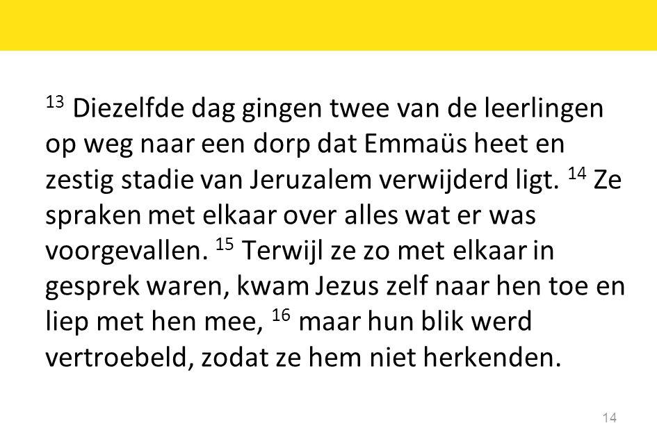 14 13 Diezelfde dag gingen twee van de leerlingen op weg naar een dorp dat Emmaüs heet en zestig stadie van Jeruzalem verwijderd ligt. 14 Ze spraken m