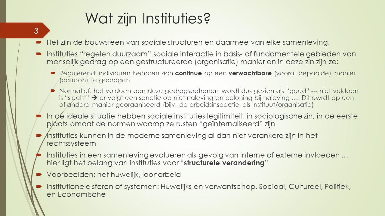 """Wat zijn Instituties?  Het zijn de bouwsteen van sociale structuren en daarmee van elke samenleving.  Instituties """"regelen duurzaam"""" sociale interac"""
